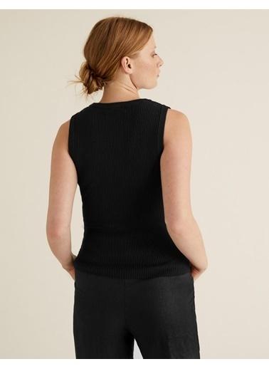 Marks & Spencer Kolsuz Triko Bluz Siyah